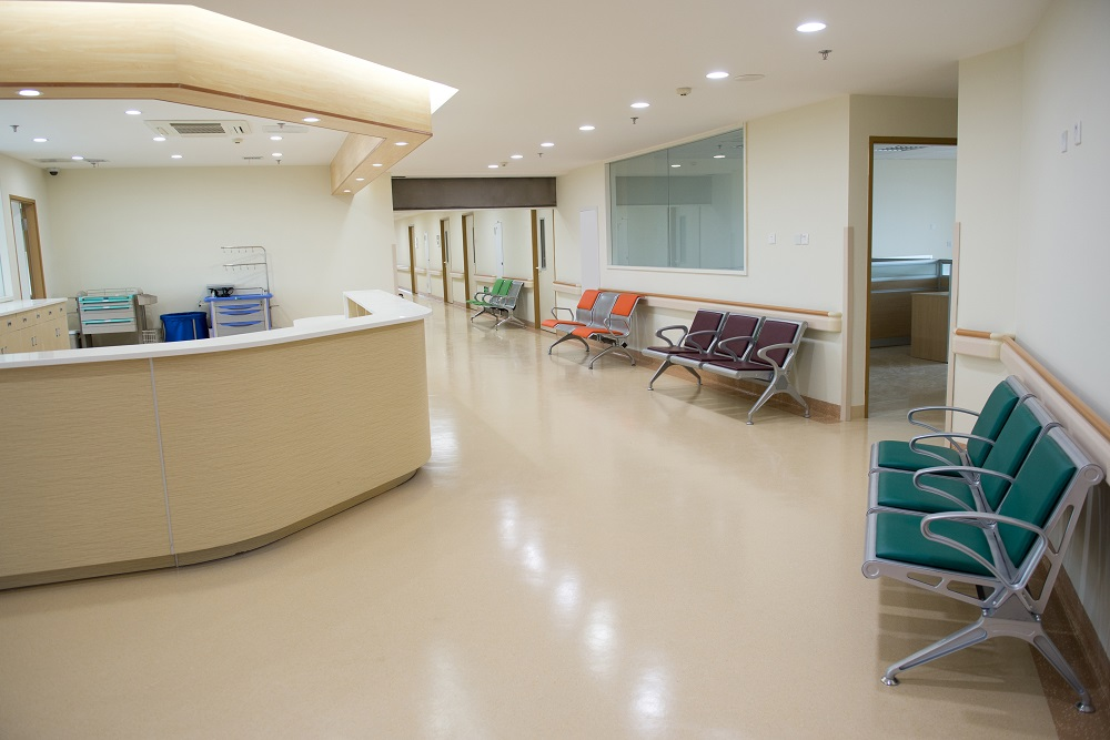 Healthcare facility concrete floor coatings